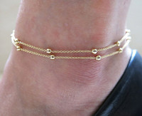 Wholesale Women Fashion Anklets Chain Round Steel Beads Trendy Classic Double Layer Thin Chain Gold Plated Adjustable Gold Color Anklet