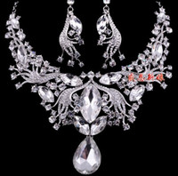 Earrings & Necklace Crystal Alloy noble white crystal rare style wedding bride jewelry lady;s set neckalce earings (genhqspc )