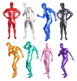 Wholesale S-XXL Unisex Metallic Lycra Zentai Full Hood Spandex Zentai Body Suit