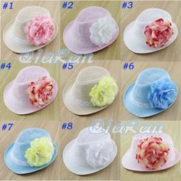 Wholesale Big Flower Baby Hat Kids Straw Fedora Hat Girl Summer Sun Hat Beach Cap Children Sunbonnet Top Hat FH029