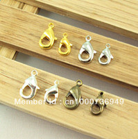 Clasps & Hooks 035003005 Clasps & Hooks 12MM*6MM 200Pcs Gold Silver Nickel Bronze Metal Lobster Clasps Hooks Jewelry Findings Accessory DIY 035003005