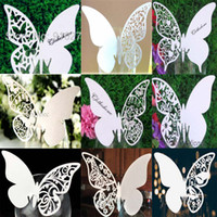 Wholesale Mix Styles Wedding Butterfly Place Card Escort Card Table Name Card Wine Glass Card Wedding Party Decor