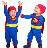 Wholesale piece Baby Romper Superman Long Sleeve Baby Dress Smock Infant Romper Halloween Costume