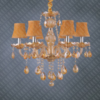 Wholesale Artisitc Lights Amber Electroplated Crystal and Glass Chandelier with Yellow Spiral Fabric Shades
