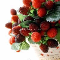 Valentine's Day Decorative Flowers & Wreaths,Wild Strawb Flower 6pcs Lot Exquisite Wild Strawberries Mulberry Artificial Plastic Fruit Plants Bouquet Wedding Home Decorations