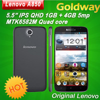Wholesale Original Lenovo A850 Smartphone Inch IPS Screen Android4 GB RAM GB MTK6582 Quad Core G GPS Androi Cell Phone