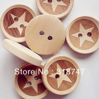 Wood 2-Holes Button Eco-Friendly Free Shipping Wholesale 100pcs 20*20MM 2-Holes Wooden Buttons Mixed Color Star Shape Clothing Accessories004006016