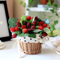 Christmas Decorative Flowers & Wreaths,Crystal Yes (10 Pcs Lot) Simulation Fruit 9 Heads Piece Wild Strawberries Artificial Plastic Fruit Plants Bouquet Home Decor 2 Colors