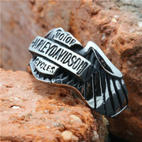 Wholesale Size to Hot saling Biker Ring Mens Silver L Stainless Steel Cool Biker Ring