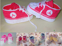 Wholesale 9 off Crochet baby sneakers handmade converse shoes nfant shoes Drop shipping hot sale shoes sale shoes infant shoes pairs