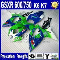 Wholesale Injection molding plastic fairing kit for SUZUKI GSX R600 K6 green blue Corona fairings GSXR bodywork set VQ82