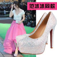 Half Boots Women PU 14CM prom heels wedding shoes women high heels crystal high heel shoes platforms silver rhinestone pumps