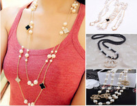 arrival diamond pendant - 8 off hot sale Korea Fashion Multilayer Clover diamond pearl long necklace Wild sweater chain DROP SHIPPING new arrivals WX