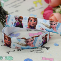 Wholesale 5 inch Fold Over Elastic FOE FROZEN printed ribbon headband diy hair band OEM H1771