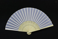 Hand Fans white hand fans - Hand Fans Bridal Wedding Fans Advertising and Promotional Folding Fans Handmade White Color Bamboo with Fabric Fans Bridal Accessories