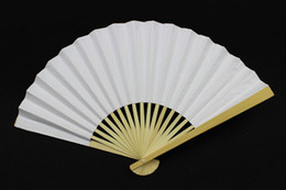 Wholesale Hand Fans Bridal Wedding Fans Advertising and Promotional Folding Fans Handmade Plain Color Bamboo with Paper Fans Bridal Accessories