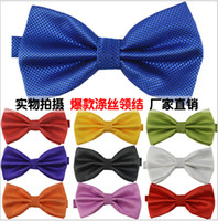Wholesale 100 High quality Men s polyester leisure jacquard monochrome tie Bow ties Men Vintage Wedding party pre tie Bow tie COLORS