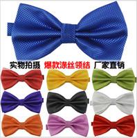 Wholesale 100 High quality Men s polyester leisure jacquard monochrome tie Bow ties Men Vintage Wedding party pre tie Bow tie COLORS