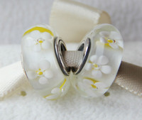 Handmade Lampwork Flowers White 5pcs 925 Sterling Silver Screw Core White Field of Dasies Murano Glass Beads Fit European Pandora Jewelry Charm Bracelets & Necklaces