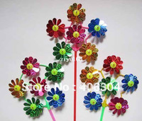 Wholesale Children round flower windmill cm length cm diameter windmill toy material plastic and laser film