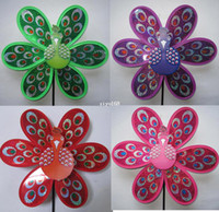 Wholesale Children plastic windmill toy peacock shape cm length cm diameter red yellow blue green purple