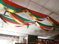 Indoor Christmas Decoration flags and banners - Christmas Decoration supplies wave flag with bell christmas banner red green and gold m length g