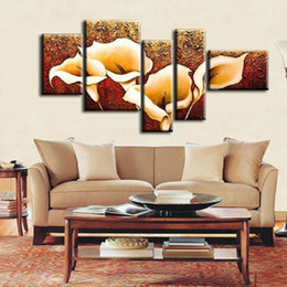 Wholesale Thick texture The Calla Lily flowers Top Quality Oversized Oil Painting On Canvas Wall Art home furnishing Decoration HH003