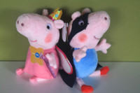 Wholesale 19cm New arrival Grorge pig plush superman Soft Toy Height style can choose