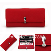Wholesale 2014 New Casual Style Women Leather Long Wallet Coin Purse ORIGINAL FACTORY SUPPLY Colors Card Holders