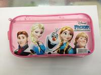 Fabric   Wholesale-Hot sale2014 Frozen princess Elsa anna Pencil case Bag Red NEW Children Girl's Cartoon Fashion Pencil Bag Free Shipping
