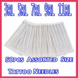 Wholesale 50 Sterile Disposable Tattoo Needles Round Liner RL RL RL RL Mixed Sizes