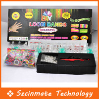 Cord & Wire   Free Shipping Rainbow Loom Kit Silicone Rubber Band 600 bands+ S-Clips Twistz DIY Rainbow Color Rubber Band Bracelets Wholesale