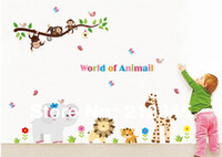 Wholesale Saturday Mall world of animals new product child cartoon decoration animal decal removable wall stickers for children
