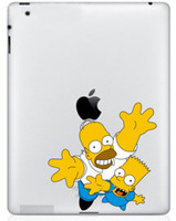 Wholesale The Simpsons Two Guys Colored Pattern PVC Decal Protective Back Sticker for Ipad