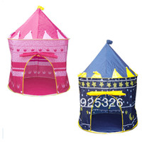 Tents Animes & Cartoons Cloth 2set Lot Wholesale Sunmmer Portable Outdoor Lovely Childern kids Tent house hut Playing Baby's Tent Castle Palace 7378