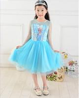 Wholesale Frozen summer Frozen Girl Dresses anna elsa Princess Dress Skirt Lace Flower Tutu skirts Girl Party Dresses girls Cartoon Printing