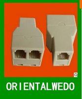 Wholesale New RJ Connector P4C Extender Adaptor Phone Modular Plug Net Cable Y Splitter Plug top sale