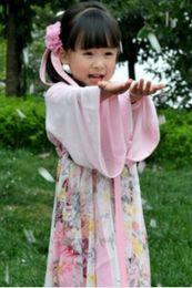 Wholesale 2014 Spring Loli Girls Elegant Floral Long Sleeve Dress Kids Chinese Ancient Girl s Robes Children Ethnic Han dynasty style Dresses I0486