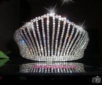 crowns and tiaras - New Arrival Wedding Accessoires Bridal Hair Tall Crown Shiny Rhinestone and Diamond Luxurious Wedding Tiaras