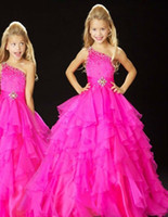 Wholesale 2014 Cute Little Kids Flower Girls Pageant Dresses Hot Pink Beaded Princess Organza Sheer For Wedding Cheap
