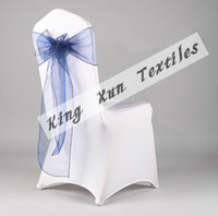 Wedding Organza Fabric many color Royal Blue Color Organza Chair Sash Used For Wedding Spandex Chair Cover