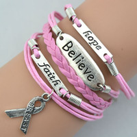 Other Unisex Fashion 6pcs Infinity Bracelets,Faith,believe and Breast Cancer Awareness Ribbon Charm Bracelet,Free Shipping Dropshipping