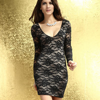 Casual Dresses V_Neck Sheath Free Shipping 2013 Sexy Lace Dress Short Tight Mini Luxury Club Satin Women Clothes sequined Party Evening black dresses