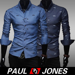 Wholesale PJ Men s Stylish Slim Fit Long Sleeve Beard Print Shirts Tops Size XS L CL5346