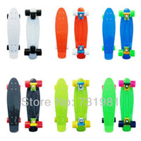 Long Board wholesale skateboards - Penny Skateboard Complete quot Mini Retro Cruiser Long Skate Board Plastic Longboard Banana Shape DIY Color