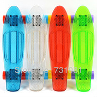 Wholesale 8Pcs Clear Deck Penny Skateboard Complete quot Transparent mini Cruiser long skate board Whte Blue Red Yellow Red