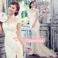 Reference Images chinese crystal beads - 2014 Classic Chinese Cheongsam Style Wedding Dresses High Neck Elegant Sheer Lace Mermaid Long White Red Bridal Wedding Gowns New Fashion