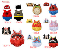 Unisex Summer 100% Cotton wholesale baby rompers animal costume baby onesies with cap sleeveless triangle jumpers baby one-piece clothes