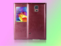 Wholesale High quality leather case smart cover Sleep Open Window Sleep Wake Front View for Samsung Galax s5 I9600 Variety colors