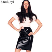 Cotton Above Knee Women Women's leather skirt with elastic waist and pocket decoration in the side for free shipping for cpam